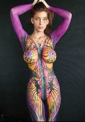 Hot babe covered in paint