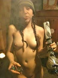 Images of naked women smoking a joint